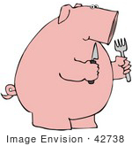 #42738 Clipart Illustration Of A Hungry Pink Pig Holding A Knife And Fork