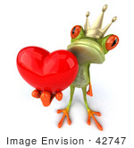 #42747 Royalty-Free Clipart Illustration Of A Romantic 3d Red-Eyed Frog Prince Wearing A Crown And Holding A Red Heart