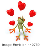 #42759 Royalty-Free Clipart Illustration Of A Loving 3d Red-Eyed Frog Prince Wearing A Crown And Juggling Hearts