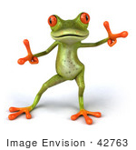 #42763 Royalty-Free Clipart Illustration of a Cute 3d Dancing Red-Eyed Tree Frog With Big Red Eyes by Julos