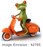 #42765 Royalty-Free Clipart Illustration of a Cute 3d Red-Eyed Tree Frog Standing Up On An Orange Scooter by Julos
