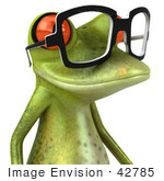 #42785 Royalty-Free (RF) Clipart Illustration of a 3d Red Eyed Tree Frog Wearing Spectacles - Version 5 by Julos
