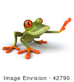 #42790 Royalty-Free (Rf) Clipart Illustration Of A 3d Red Eyed Tree Frog Reaching - Pose 2