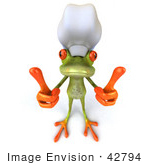 #42794 Royalty-Free (RF) Clipart Illustration of a 3d Red Eyed Tree Frog Chef Giving Two Thumbs Up - Pose 1 by Julos