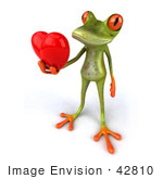 #42810 Royalty-Free (Rf) Clipart Illustration Of A 3d Red Eyed Tree Frog Giving A Red Heart - Pose 3