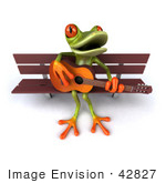 #42827 Royalty-Free (RF) Clipart Illustration of a 3d Red Eyed Tree Frog Playing A Guitar On A Park Bench - Pose 2 by Julos