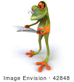 #42848 Royalty-Free (RF) Clipart Illustration of a 3d Red Eyed Tree Frog Wearing Glasses And Reading - Pose 3 by Julos