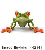 #42864 Royalty-Free (Rf) Clipart Illustration Of A 3d Red Eyed Tree Frog Resting On All Fours And Facing Front