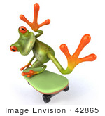 #42865 Royalty-Free (RF) Clipart Illustration of a 3d Green Tree Skater Frog Skateboarding - Pose 5 by Julos