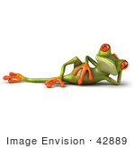 #42889 Royalty-Free (RF) Clipart Illustration of a 3d Red Eyed Tree Frog Relaxed And Reclined by Julos