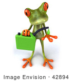 #42894 Royalty-Free (RF) Clipart Illustration of a 3d Red Eyed Tree Frog Holding A Gas Can Of Bio Fuel - Pose 1 by Julos