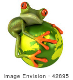 #42895 Royalty-Free (RF) Clipart Illustration of a 3d Red Eyed Tree Frog Hugging The Planet - Pose 2 by Julos