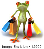 #42909 Royalty-Free (RF) Clipart Illustration of a 3d Red Eyed Tree Frog Carrying Shopping Bags - Pose 1 by Julos