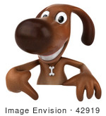 #42919 Royalty-Free (RF) Cartoon Clipart of a 3d Brown Dog Mascot Pointing Down At And Standing Behind A Blank Sign by Julos