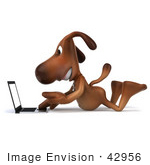 #42956 Royalty-Free (Rf) Clipart Illustration Of A 3d Brown Dog Mascot With A Laptop - Pose 6