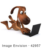 #42957 Royalty-Free (Rf) Clipart Illustration Of A 3d Brown Dog Mascot With A Laptop - Pose 8