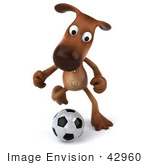 #42960 Royalty-Free (Rf) Clipart Illustration Of A 3d Brown Dog Mascot Playing Soccer - Pose 3