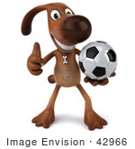 #42966 Royalty-Free (Rf) Clipart Illustration Of A 3d Brown Dog Mascot Playing Soccer - Pose 1