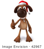 #42967 Royalty-Free (Rf) Clipart Illustration Of A 3d Brown Dog Mascot Waring A Santa Hat And Giving The Thumbs Up - Pose 1