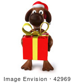 #42969 Royalty-Free (Rf) Clipart Illustration Of A 3d Brown Dog Mascot Carrying A Christmas Gift - Pose 3