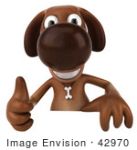 #42970 Royalty-Free (Rf) Clipart Illustration Of A 3d Brown Dog Mascot Giving The Thumbs Up And Standing Behind A Blank Sign