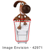 #42971 Royalty-Free (Rf) Clipart Illustration Of A 3d Brown Dog Mascot Pushing A Shopping Cart - Pose 3