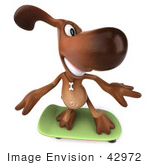 #42972 Royalty-Free (Rf) Clipart Illustration Of A 3d Brown Dog Mascot Skateboarding - Pose 3