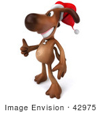 #42975 Royalty-Free (Rf) Clipart Illustration Of A 3d Brown Dog Mascot Waring A Santa Hat And Giving The Thumbs Up - Pose 2