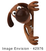 #42976 Royalty-Free (Rf) Clipart Illustration Of A 3d Brown Dog Mascot Looking Around A Sign