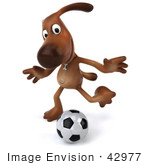 #42977 Royalty-Free (Rf) Clipart Illustration Of A 3d Brown Dog Mascot Playing Soccer - Pose 4