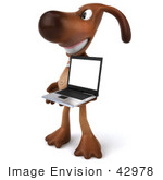 #42978 Royalty-Free (Rf) Clipart Illustration Of A 3d Brown Dog Mascot With A Laptop - Pose 3