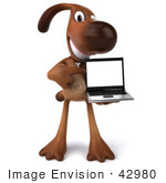 #42980 Royalty-Free (Rf) Clipart Illustration Of A 3d Brown Dog Mascot With A Laptop - Pose 2