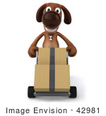 #42981 Royalty-Free (Rf) Clipart Illustration Of A 3d Brown Dog Mascot Moving Boxes With A Hand Truck - Pose 1