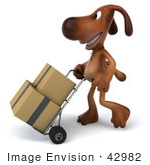 #42982 Royalty-Free (Rf) Clipart Illustration Of A 3d Brown Dog Mascot Moving Boxes With A Hand Truck - Pose 2