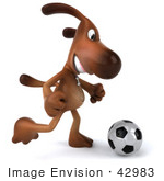 #42983 Royalty-Free (Rf) Clipart Illustration Of A 3d Brown Dog Mascot Playing Soccer - Pose 2