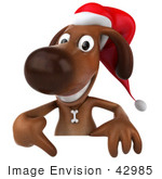 #42985 Royalty-Free (Rf) Clipart Illustration Of A 3d Brown Christmas Pooch Character Pointing Down At And Standing Behind A Blank Sign