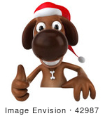 #42987 Royalty-Free (Rf) Clipart Illustration Of A 3d Brown Christmas Pooch Character Giving The Thumbs Up Behind A Blank Sign
