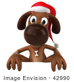 #42990 Royalty-Free (Rf) Clipart Illustration Of A 3d Brown Christmas Pooch Character Behind A Blank Sign