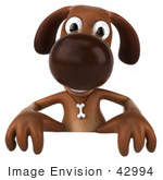 #42994 Royalty-Free (Rf) Clipart Illustration Of A 3d Brown Dog Mascot Standing Behind A Blank Sign