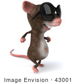 #43001 Royalty-Free (Rf) Cartoon Clipart Illustration Of A 3d Mouse Mascot Wearing Shades - Pose 2