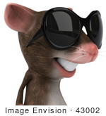 #43002 Royalty-Free (Rf) Cartoon Clipart Illustration Of A 3d Mouse Mascot Wearing Shades - Pose 4