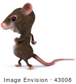 #43008 Royalty-Free (RF) Cartoon Clipart Illustration of a 3d Mouse Mascot Walking Left by Julos