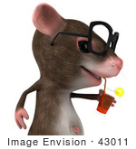 #43011 Royalty-Free (Rf) Cartoon Clipart Illustration Of A 3d Mouse Mascot Wearing Spectacles And Sipping A Beverage - Pose 2