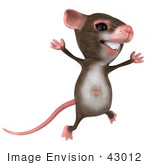 #43012 Royalty-Free (Rf) Cartoon Clipart Illustration Of A 3d Mouse Mascot Jumping