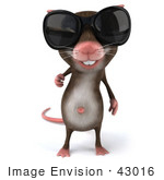 #43016 Royalty-Free (Rf) Cartoon Clipart Illustration Of A 3d Mouse Mascot Wearing Shades - Pose 1
