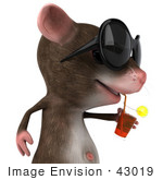 #43019 Royalty-Free (Rf) Cartoon Clipart Illustration Of A 3d Mouse Mascot Wearing Shades And Sipping A Drink - Pose 2