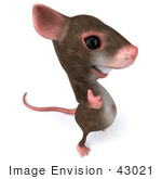 #43021 Royalty-Free (Rf) Cartoon Clipart Illustration Of A 3d Mouse Mascot Giving The Thumbs Up - Pose 4