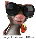 #43025 Royalty-Free (Rf) Cartoon Clipart Illustration Of A 3d Mouse Mascot Wearing Shades And Sipping A Drink - Pose 1