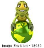 #43035 Royalty-Free (RF) Cartoon Clipart of a 3d Turtle Mascot Resting On Top Of A Green Globe by Julos