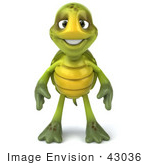 #43036 Royalty-Free (Rf) Cartoon Clipart Of A 3d Turtle Mascot With His Arms At His Sides